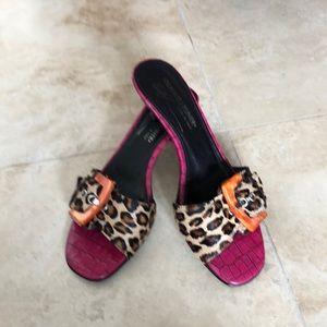 Donald Pliner calf hair/pink croc/buckle sandals
